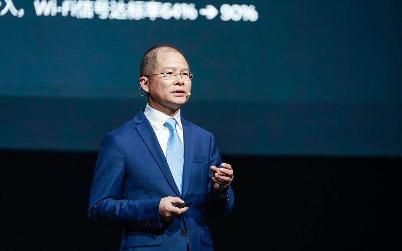 Eric Xu delivers a keynote speech